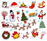 Weihnachtsgekritzelsymbole Lizenzfreie Stockfotografie