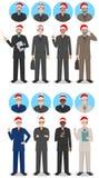 Weihnachtsgeschäftsteam Satz der ausführlichen Illustration der Geschäftsmänner in Santa Claus-Hüten in der flachen Art auf Weiß stock abbildung