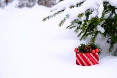 Weihnachtsgeschenk im Schnee unter einem Tannenbaum Lizenzfreie Stockfotografie