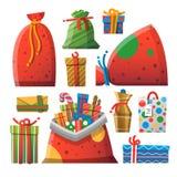 Weihnachtsgeschenk-Karikaturikonen eingestellt Lizenzfreies Stockfoto