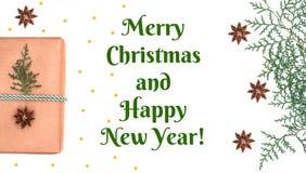 Weihnachtsgeschenk mit Baum- und Anissternen stockbild