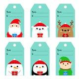 Weihnachtsgeschenk-Tagsatz Santa Claus Elf Snowman White-Eisbär Raindeer-Rotwild-Pinguinvogelgesicht Neues Jahr Nette Karikatur l vektor abbildung