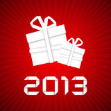 Weihnachtsgeschenk vom Weißbuch, Karte des neuen Jahres Lizenzfreie Stockfotos