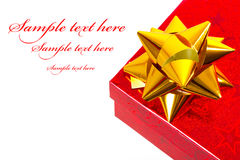 WeihnachtsGeschenkbox mit Beispieltext Stockbild