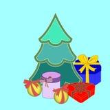 Weihnachtsgeschenkboxen und Weihnachtsbaum Stockfotos