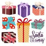 Weihnachtsgeschenkboxsammlung isoated auf weißem Hintergrund vektor abbildung