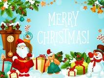 Weihnachtsgeschenkdekorationsvektor-Grußkarte Stockfotos