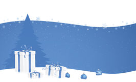 Weihnachtsgeschenke auf blauem Wellenhintergrund Lizenzfreie Stockfotografie