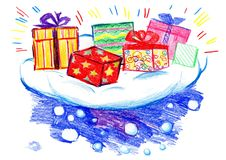 Weihnachtsgeschenke auf einer Wolke lizenzfreie stockbilder