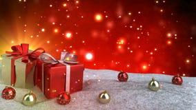 Weihnachtsgeschenke im Schnee auf rotem bokeh Hintergrund Nahtlose Schleife 3d übertragen vektor abbildung