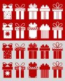 Weihnachtsgeschenke mit Mustern Stockbild