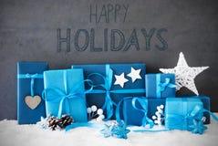 Weihnachtsgeschenke, Schnee, Kalligraphie frohe Feiertage Lizenzfreie Stockfotos