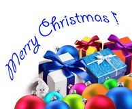 Weihnachtsgeschenke und -kugeln. Stockbild