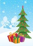 Weihnachtsgeschenke unter dem Weihnachtsbaum und der ländlichen Landschaft Stockbild