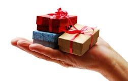 Weihnachtsgeschenkgeben Stockfoto