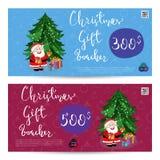 Weihnachtsgeschenkgutschein mit frankierter Summen-Schablone vektor abbildung