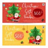 Weihnachtsgeschenkgutschein mit frankierter Summen-Schablone stock abbildung