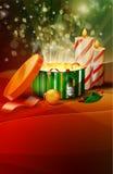 Weihnachtsgeschenkkästen mit Kerze Lizenzfreies Stockfoto