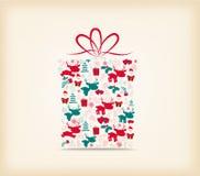 Weihnachtsgeschenkverzierung mit der Ikone Retro- Lizenzfreie Stockbilder