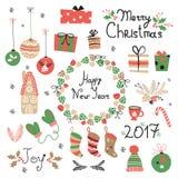 Weihnachtsgesetzte grafische Elemente mit Kranz, Kuchen, Lebkuchenhaus, Handschuhen, Spielwaren, Geschenken und Socken Stockbilder