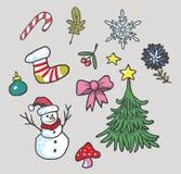 Weihnachtsgesetzte Vektor-Ikonen-Illustration stock abbildung