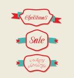 Weihnachtsgesetzte Veränderungs-Weinleseaufkleber mit Text Lizenzfreies Stockfoto