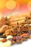 Weihnachtsgewürze, -nüsse und -Trockenfrüchte Stockfoto
