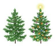 Weihnachtsgezierte Tannenbäume mit Verzierungen stock abbildung