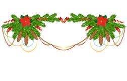 Weihnachtsgirlande auf Weiß Stockbild