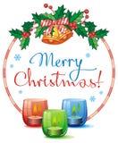 Weihnachtsgirlande, brennende Kerze und Grußtext: ` Frohe Weihnachten! ` Stockfotografie