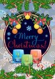Weihnachtsgirlande, brennende Kerzen und Feiertagsgruß simsen ` frohe Weihnachten! ` lizenzfreie abbildung
