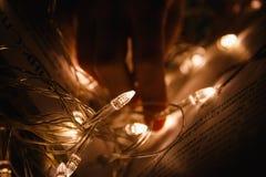 Weihnachtsgirlande in den Märchenseiten des Buches Lizenzfreie Stockbilder