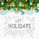 Weihnachtsgirlande, Kalligraphie, frohe Weihnachten und frohe Feiertage Lizenzfreie Stockfotos