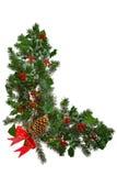 Weihnachtsgirlande L-förmig mit dem Bogen getrennt. Lizenzfreie Stockfotos