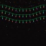 Weihnachtsgirlande mit Lichtern Nahtloser Hintergrund des Weihnachtsfeiertags Lizenzfreies Stockfoto