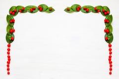 Weihnachtsgirlande mit roten Winterbeeren Stockbilder