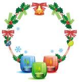 Weihnachtsgirlande und -brennende Kerze Rasterclipart Stockfoto