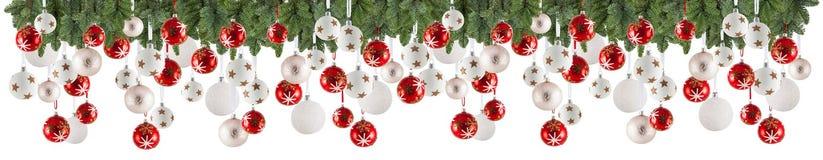 Weihnachtsgirlandenhintergrund mit Verzierungen, Weihnachtsflitter lizenzfreies stockfoto