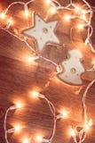 Weihnachtsgirlandenlichter Stockbild