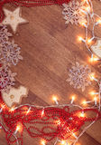 Weihnachtsgirlandenlichter Stockfoto