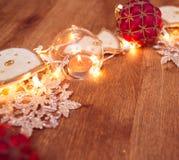 Weihnachtsgirlandenlichter Stockfotos