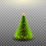 Weihnachtsglänzender Baum lokalisiert auf transparentem Hintergrund Auch im corel abgehobenen Betrag Lizenzfreie Stockfotos