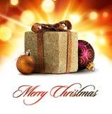 Weihnachtsglänzender Grußkartenaufbau Stockbild