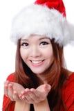 Weihnachtsglückliches Mädchen-Lächelngesicht Lizenzfreies Stockbild