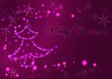 Weihnachtsglühende helle Grußkarte, verzierter glühender Weihnachtsbaum und Schneeflocken Stockfotografie