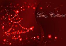 Weihnachtsglühende helle Grußkarte, verzierter glühender Weihnachtsbaum und Schneeflocken Lizenzfreie Stockbilder