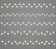 Weihnachtsglühende Lichter, Girlanden, Feiertagsdekorationen Neonröhren des neuen Jahres, Effekte vektor abbildung