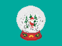 Weihnachtsglasschnee-Ball im Pixel Art Style Vektor Abbildung