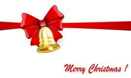 Weihnachtsglocke mit einem roten Bogen stock abbildung