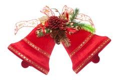 Weihnachtsglocken getrennt auf Weiß Stockfotografie
